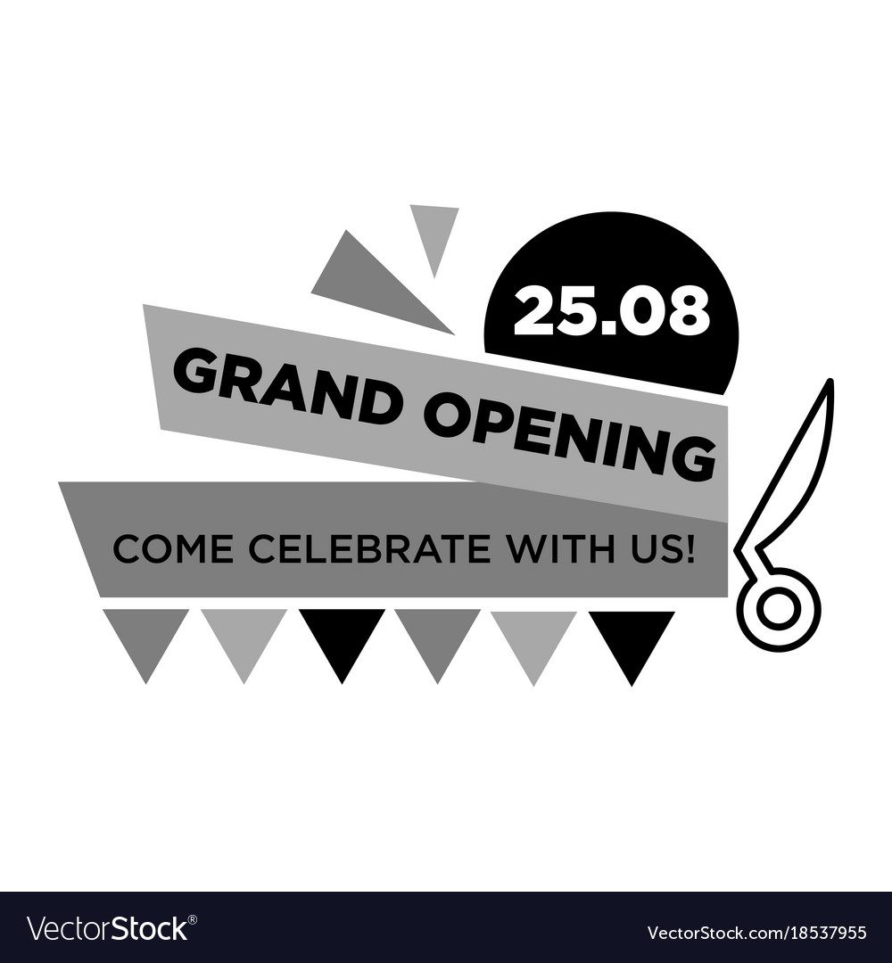 Grand opening on 25 august monochrome emblem with