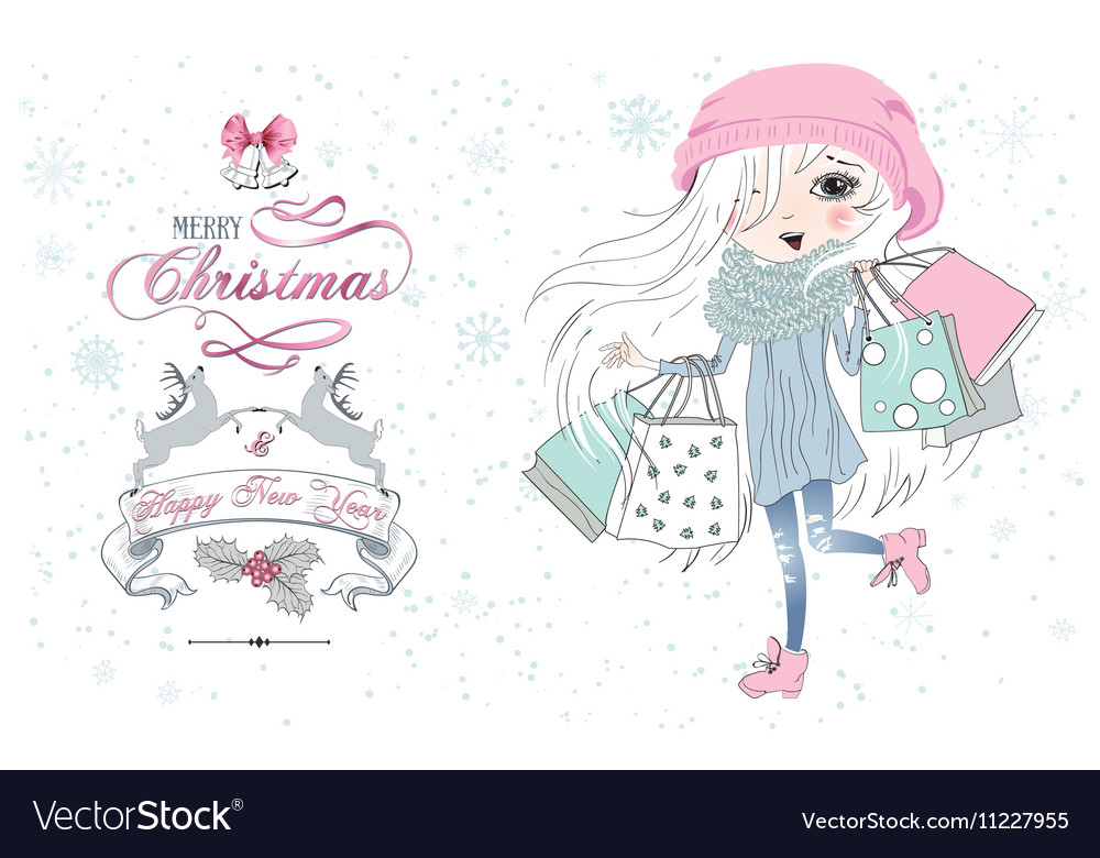 Little girl Christmas shop vector image
