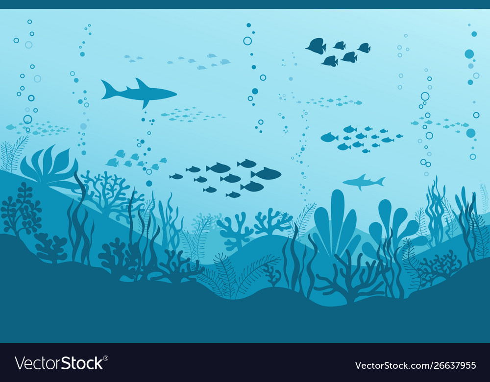 Ocean underwater background with fishes sea