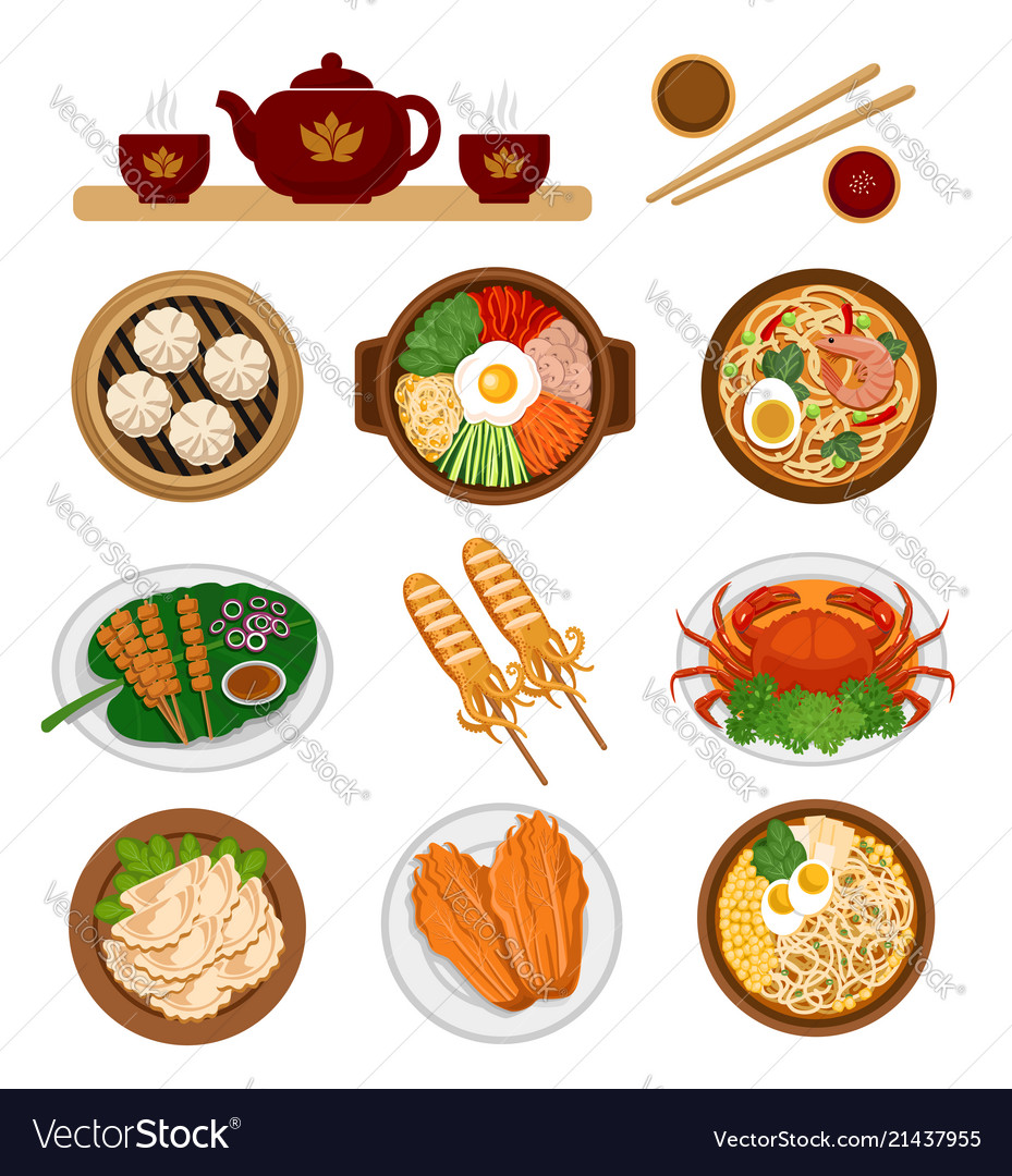 Set of asian food chinese and korean cuisine