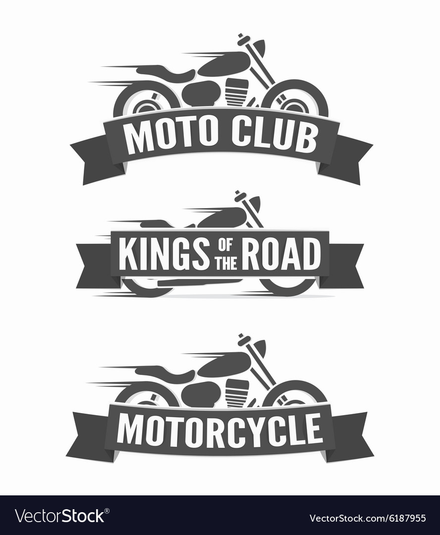 Set of vintage motorcycle labels badges and logos vector image