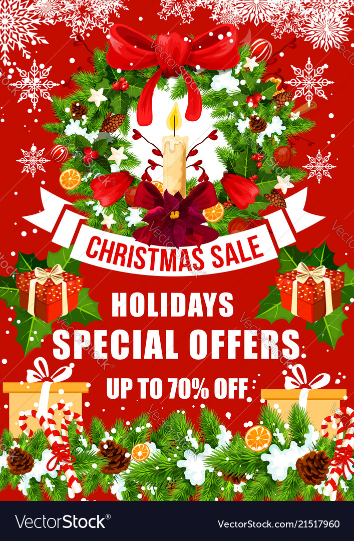 Christmas sale offer poster with xmas gift wreath Vector Image