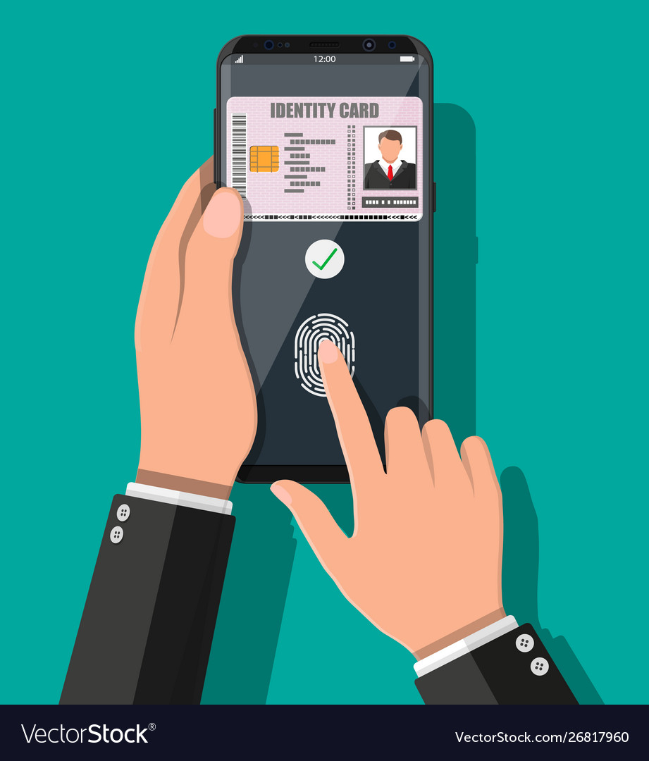 Hand with smartphone with id card application