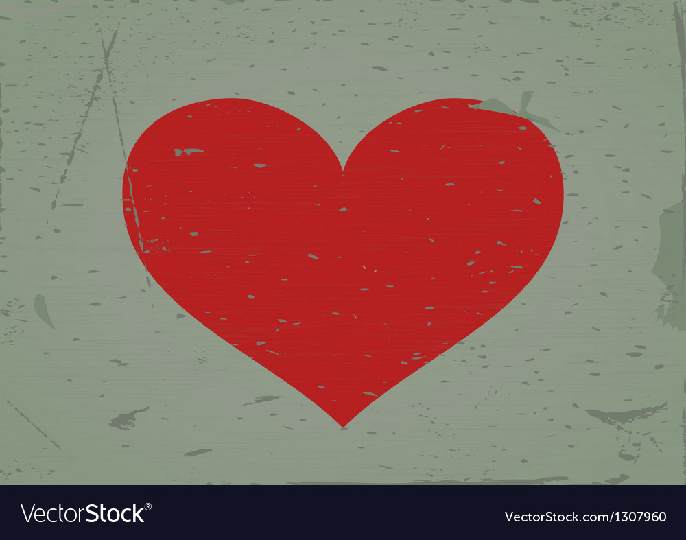 Heart sign grunge background vector image