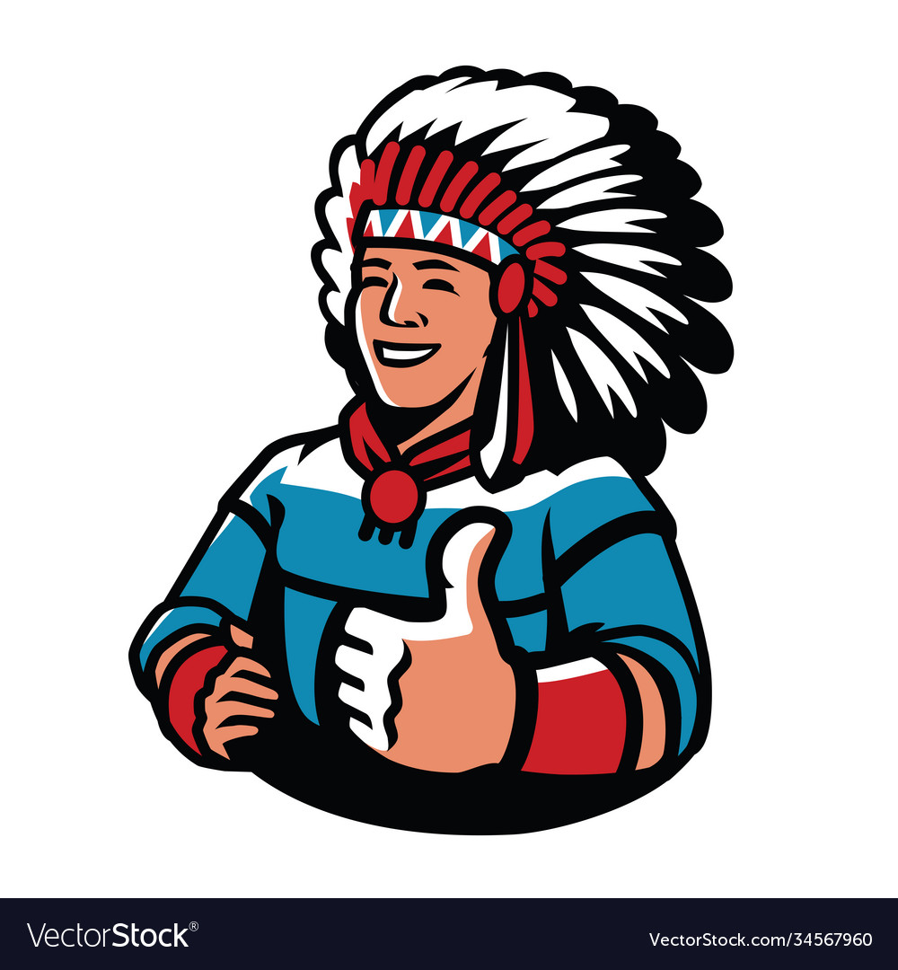 Indian chief symbol warrior mascot vector