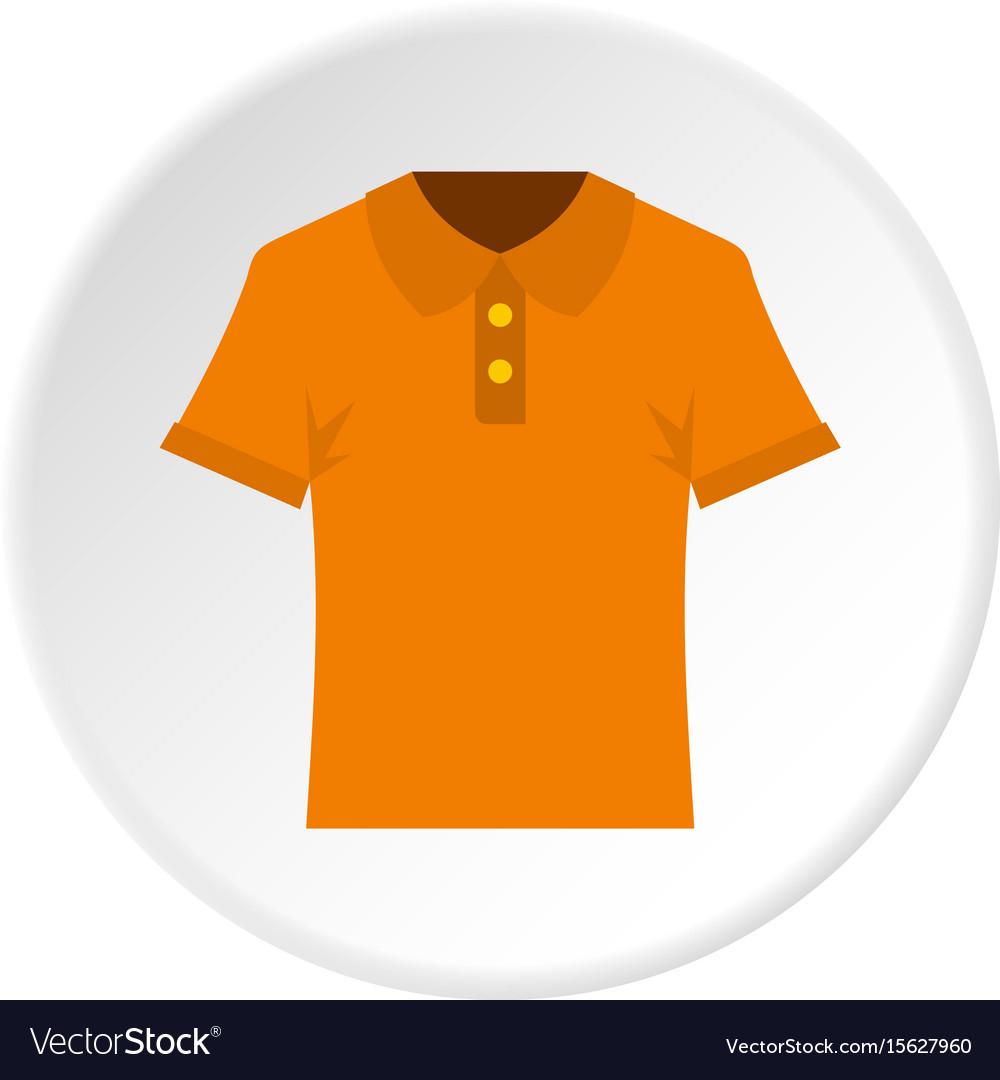 Orange men polo shirt icon circle vector image