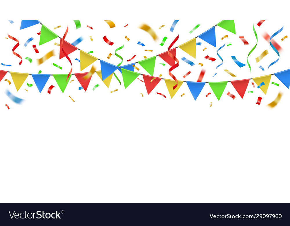 Party confetti and color flags celebration
