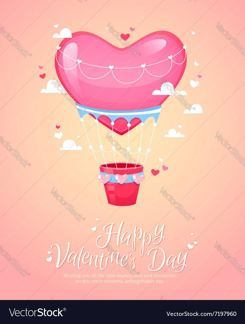 Romantic heart shaped air balloon retro postcard vector image