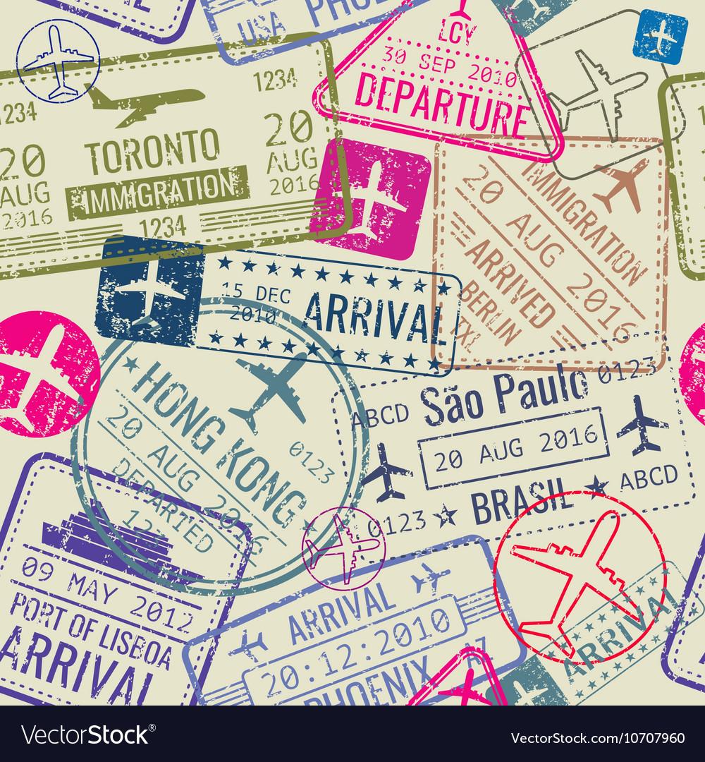 Seamless pattern with passport visa stamps