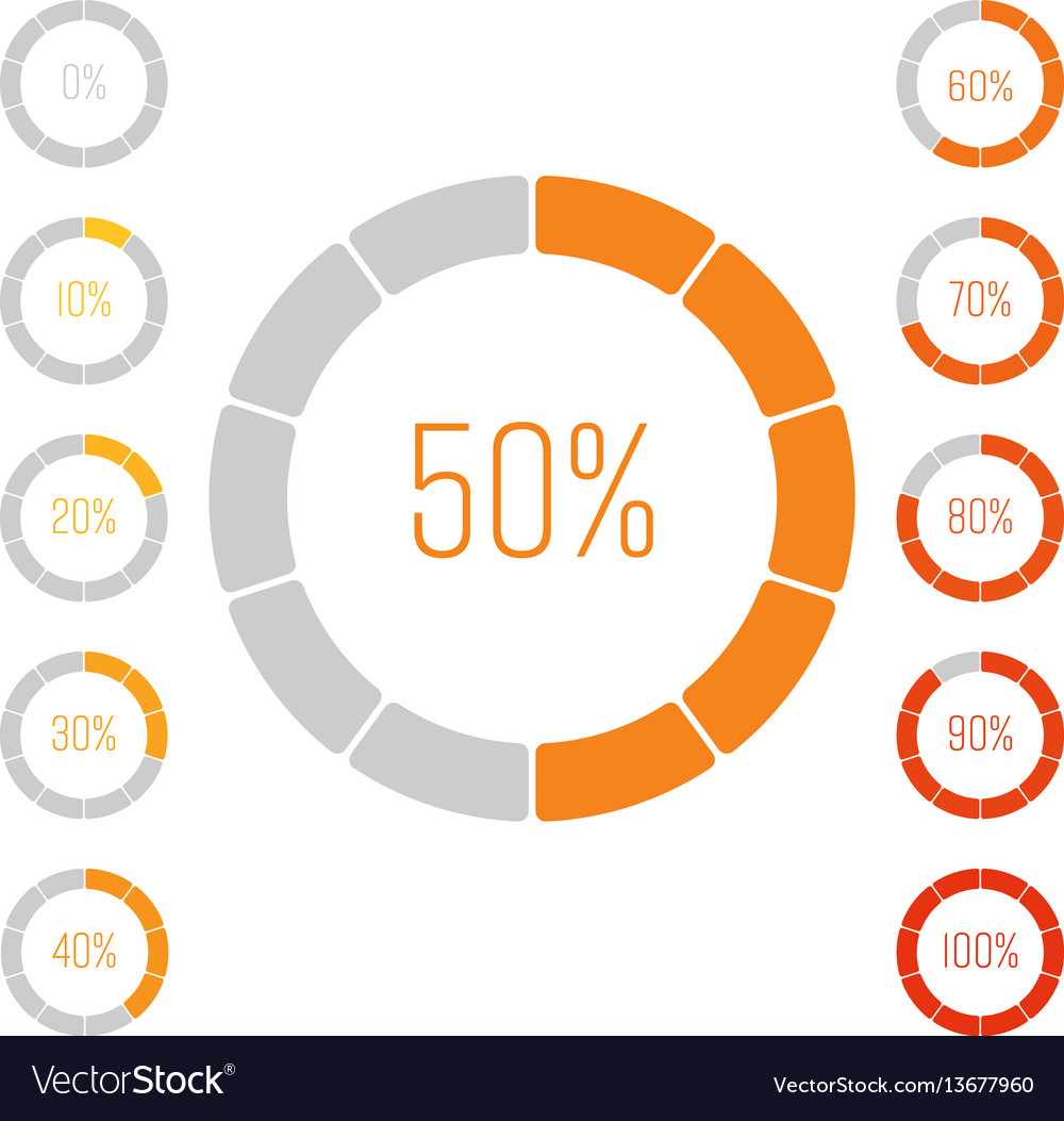Set of ring pie charts with percentage value