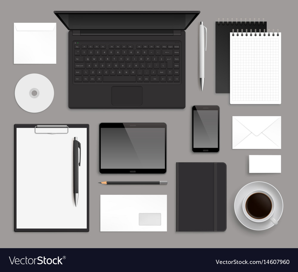 Top view office corporate design mockup template