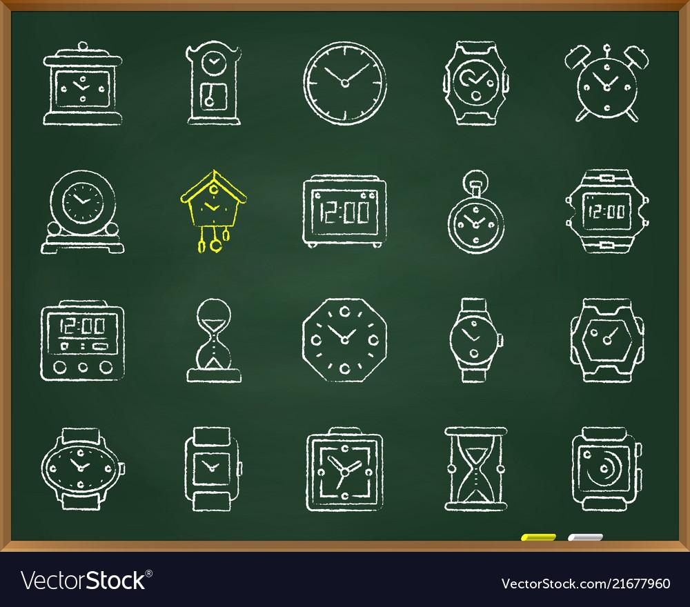 Watch chalk draw line icons set