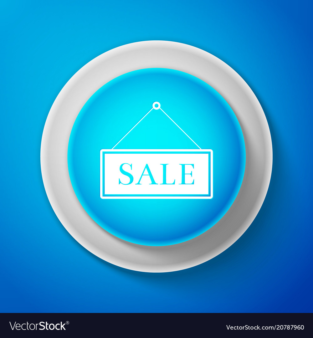 White hanging sign with text sale icon isolated