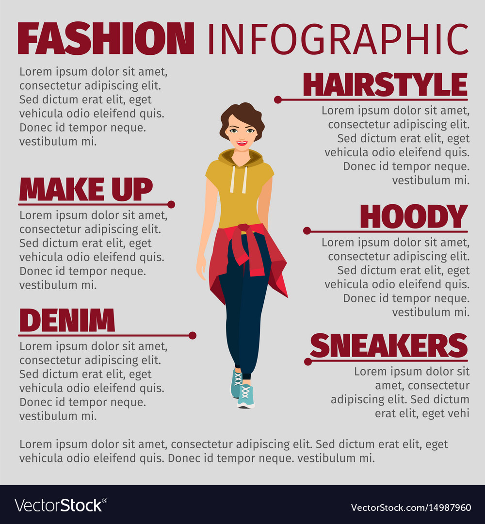 Woman in sports clothes fashion infographic vector image