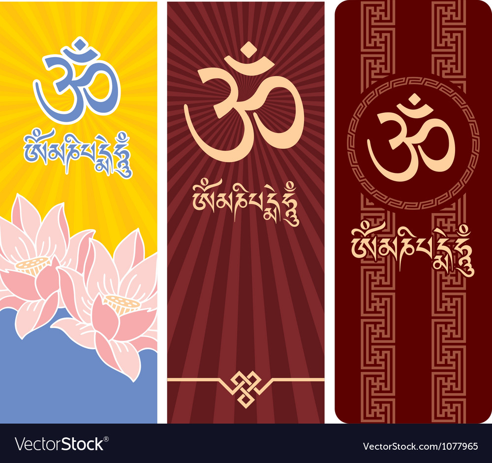 Banners with Mantra Om Mani Padme Hum
