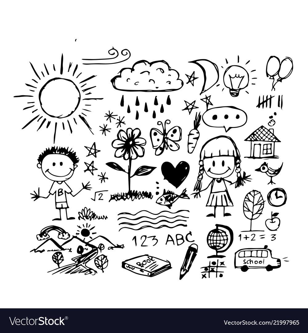 Children hand draw doodle icon