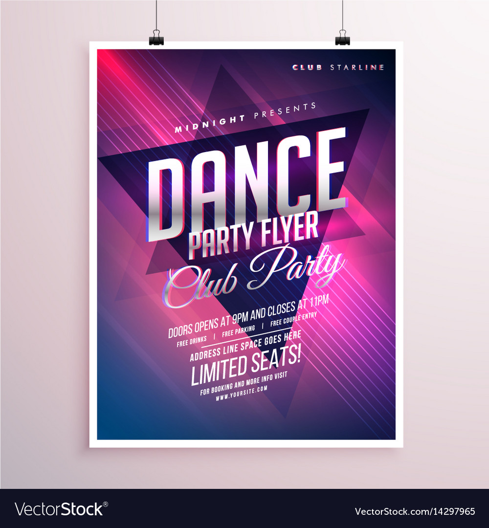 dance club party flyer template royalty free vector image