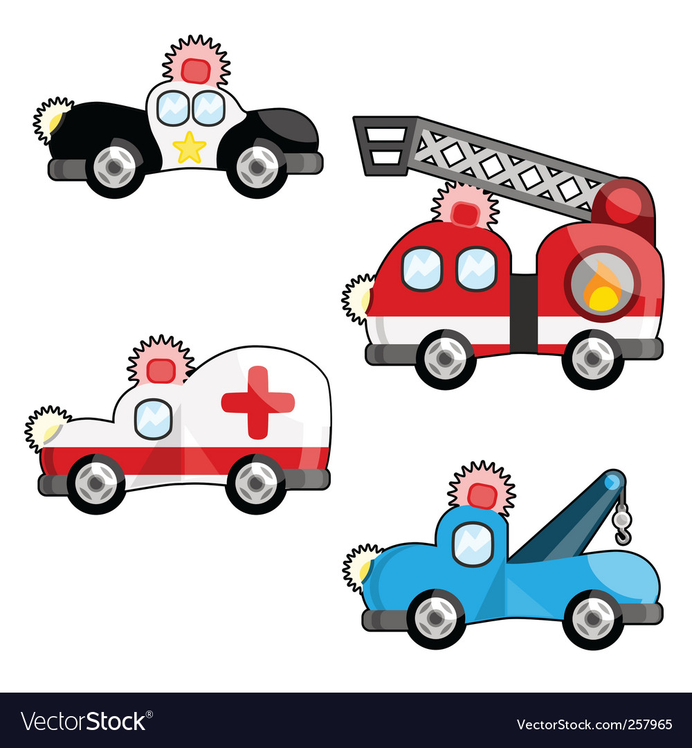 Emergency vehicles vector image