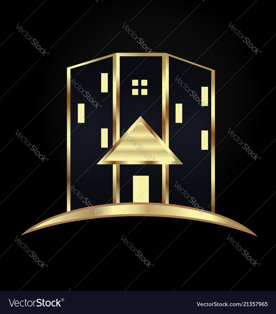 Gold modern house building icon