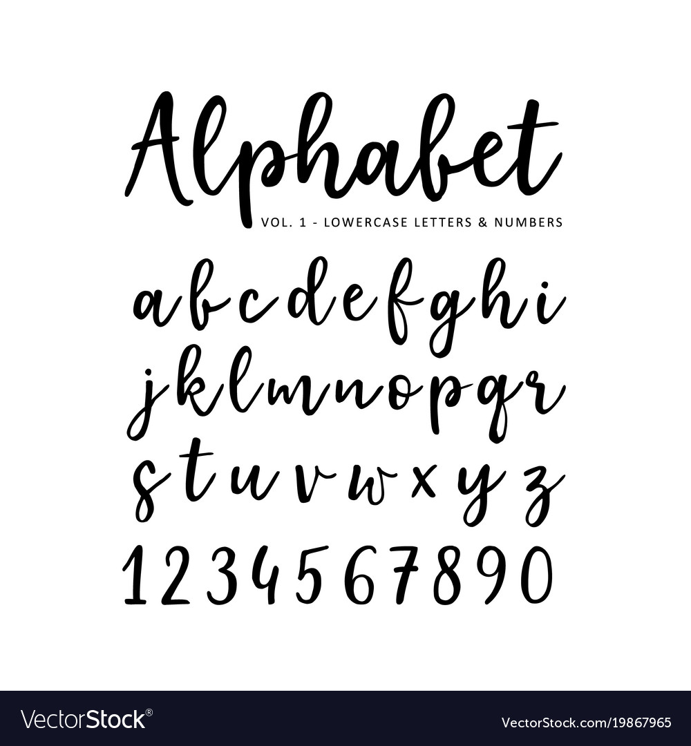 Hand drawn alphabet brush script font Royalty Free Vector
