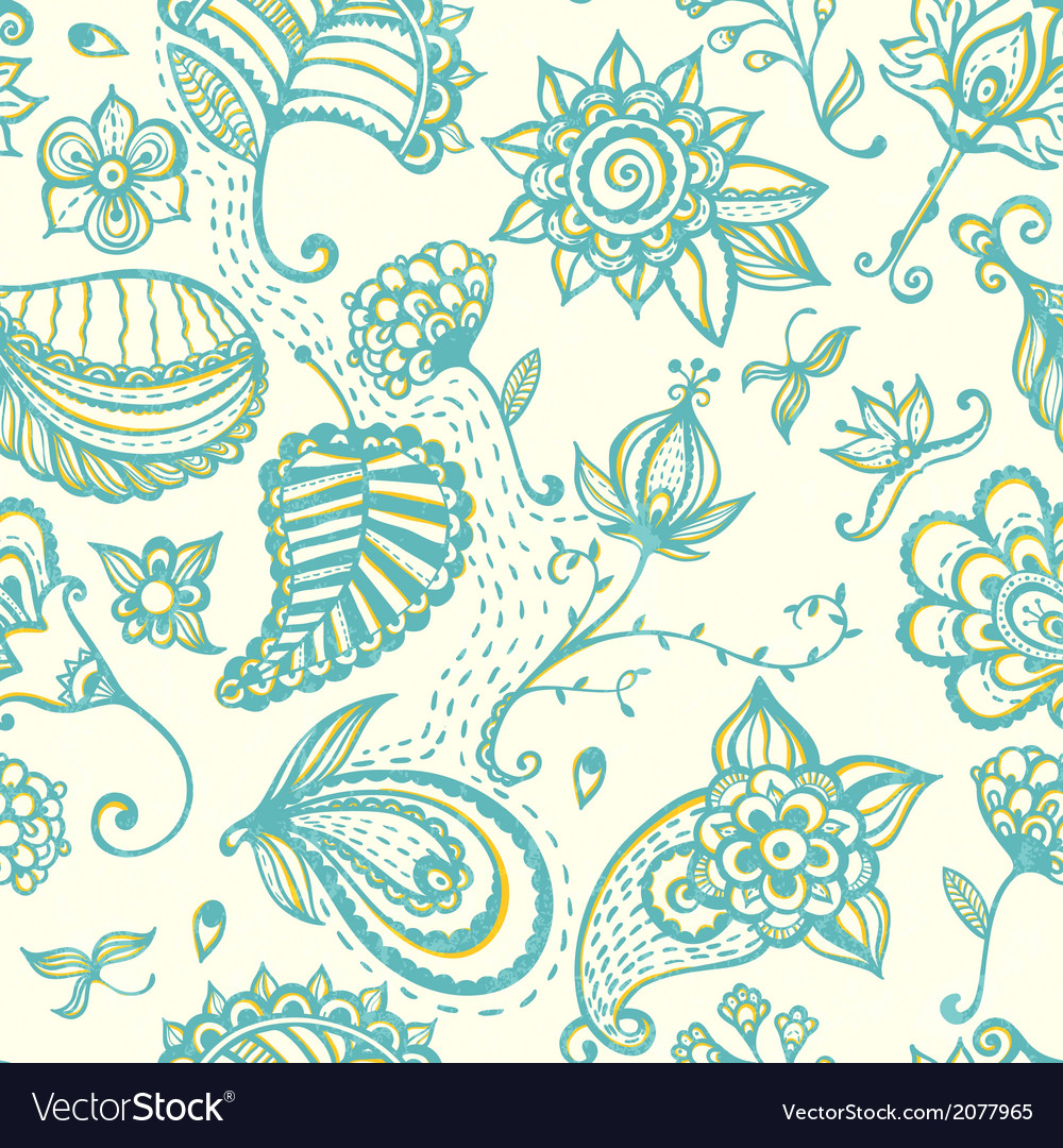 Hand-drawn floral seamless pattern