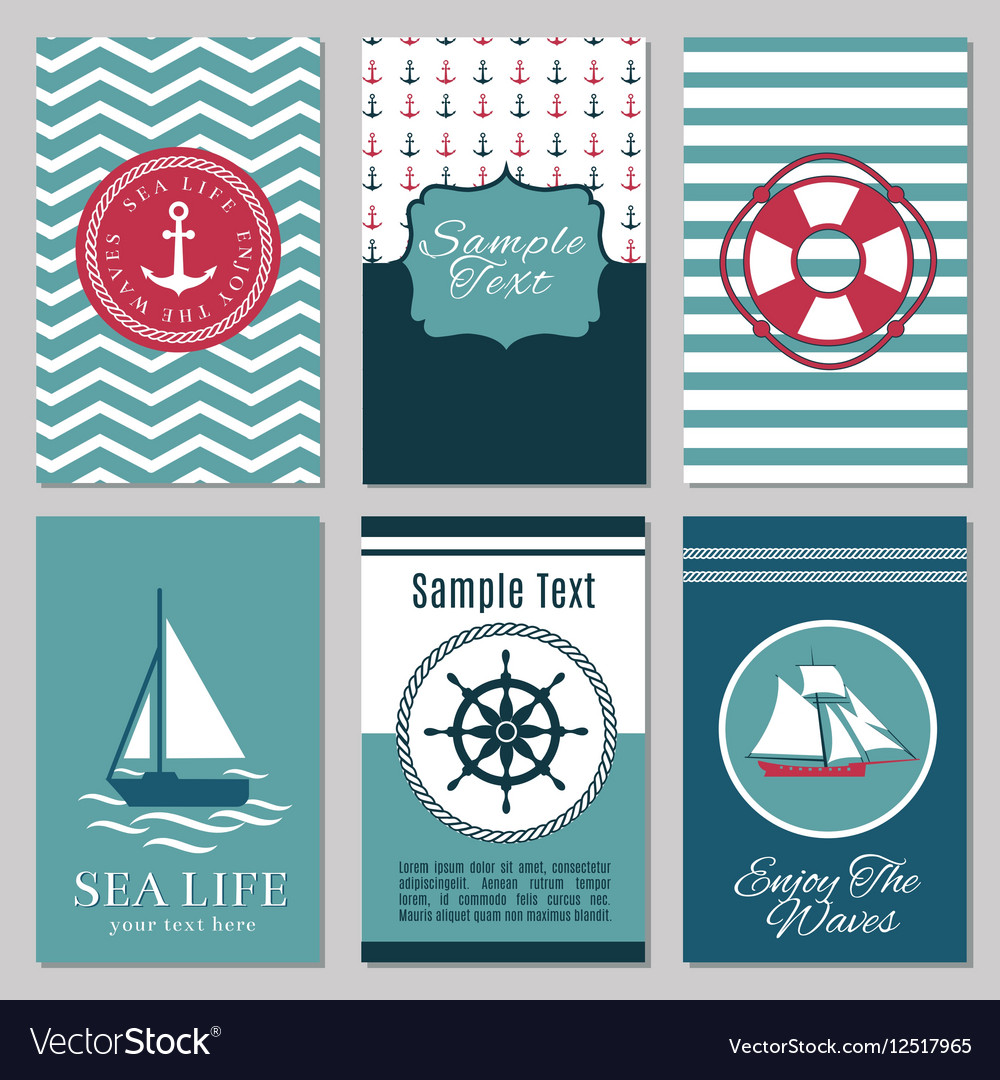 marine banners or summer nautical invitation cards