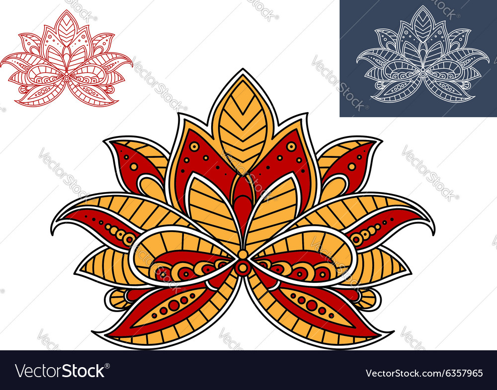 Orange and red persian paisley flower vector image