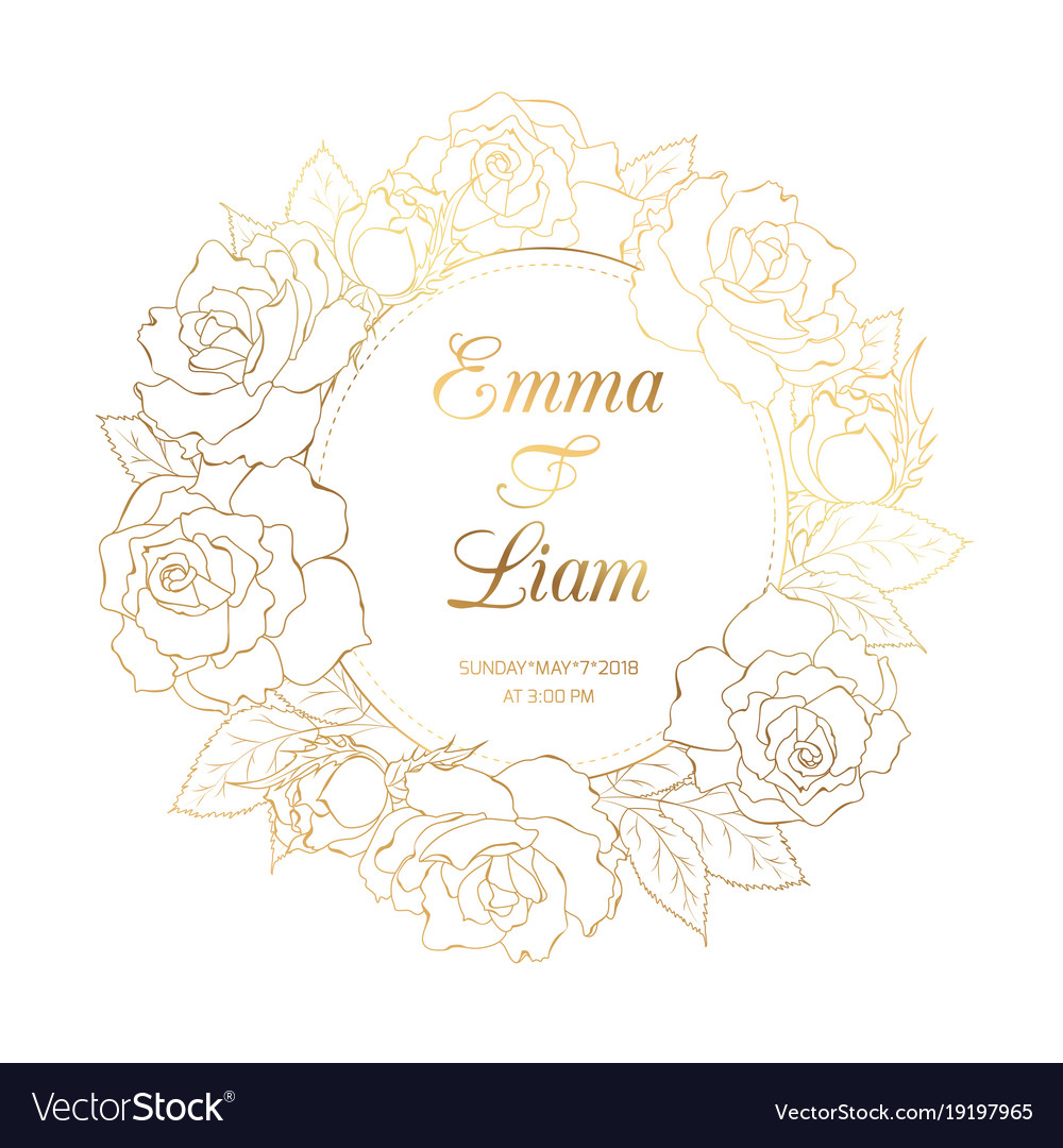 aa5b7719c70a Rose floral wreath luxury gold wedding invitation Vector Image