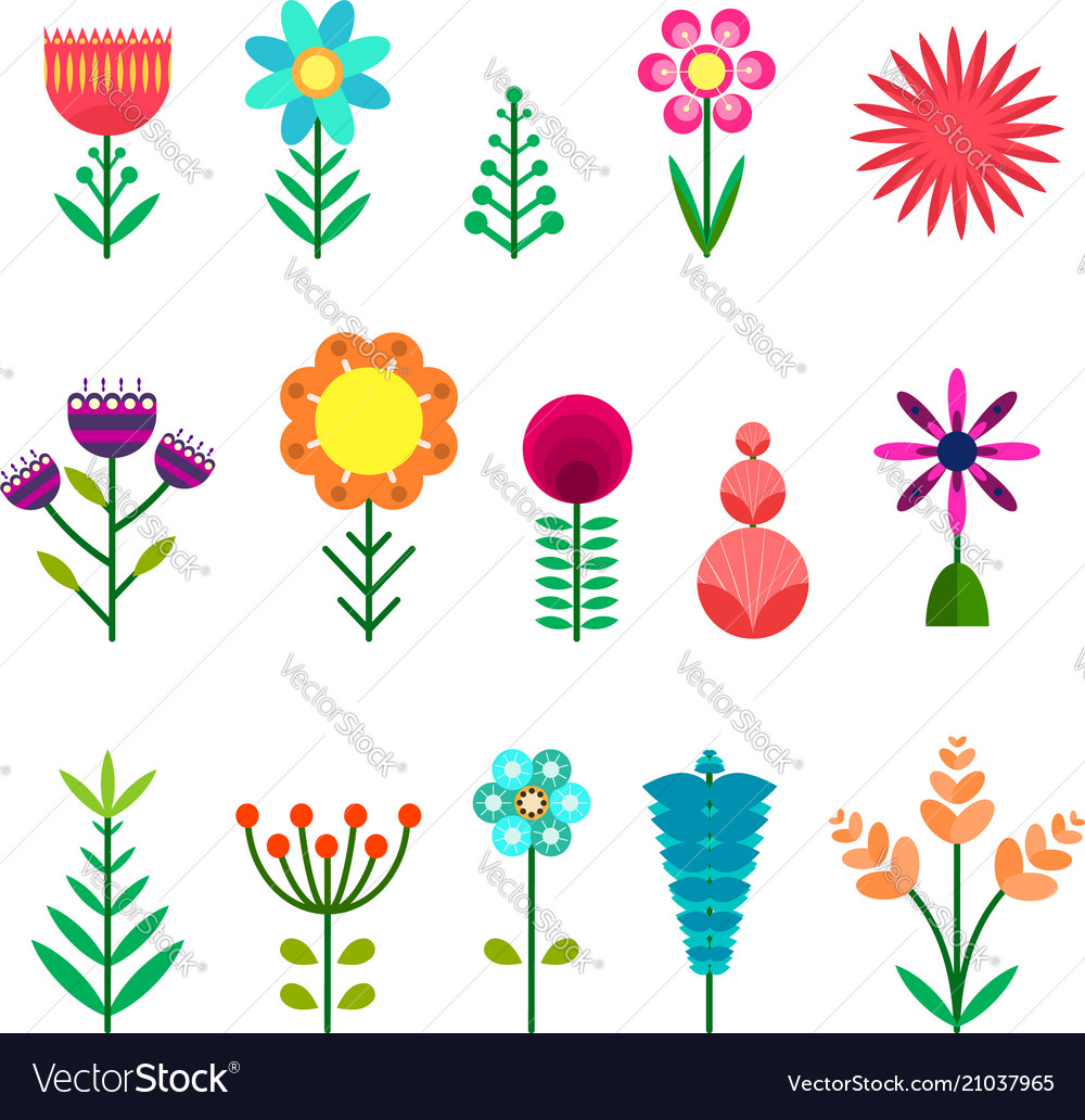 Set of flat simple color flowers vector image