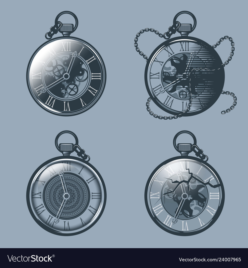 Set of vintage pocket watches monochrome tattoo