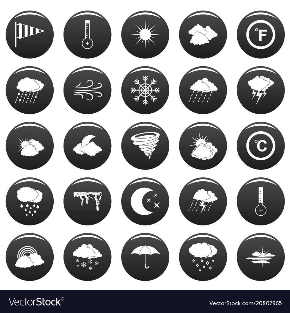 Weather icons set vetor black vector image