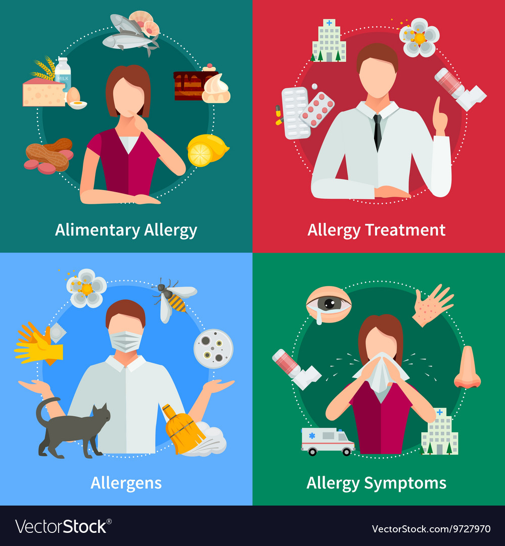 Allergy Concept Icons Set vector image