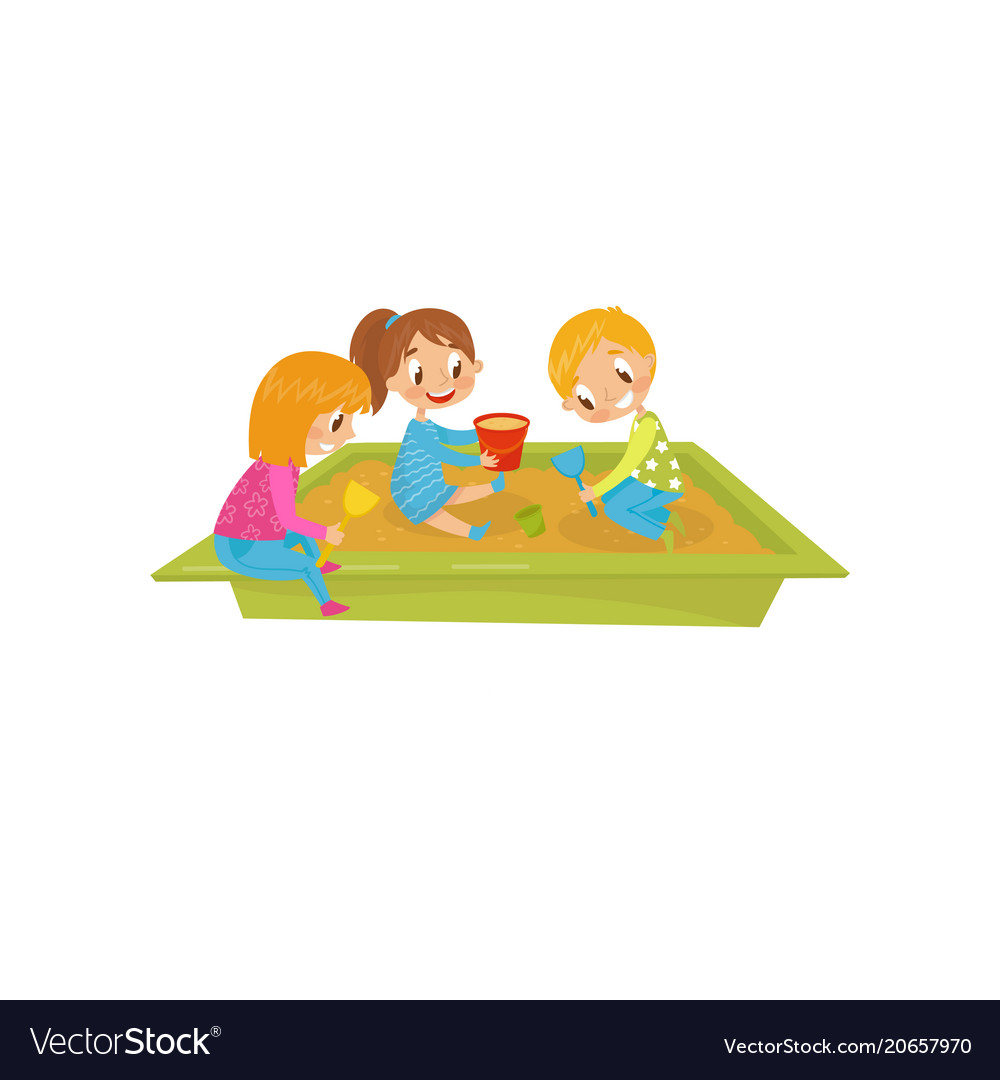 Boy and girls playing in sandpit kids on a