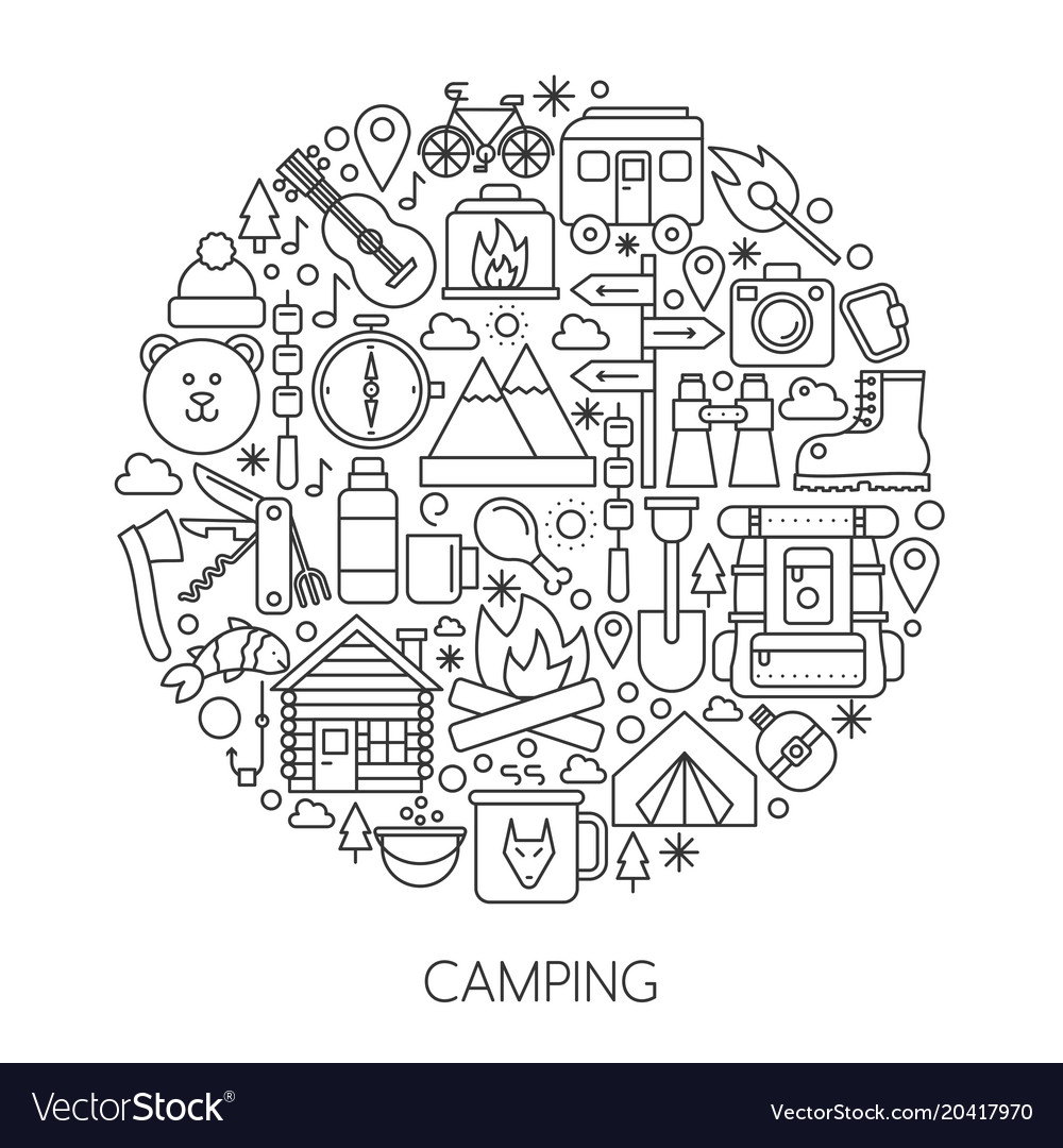 Camping hiking tools and equipment infographic in