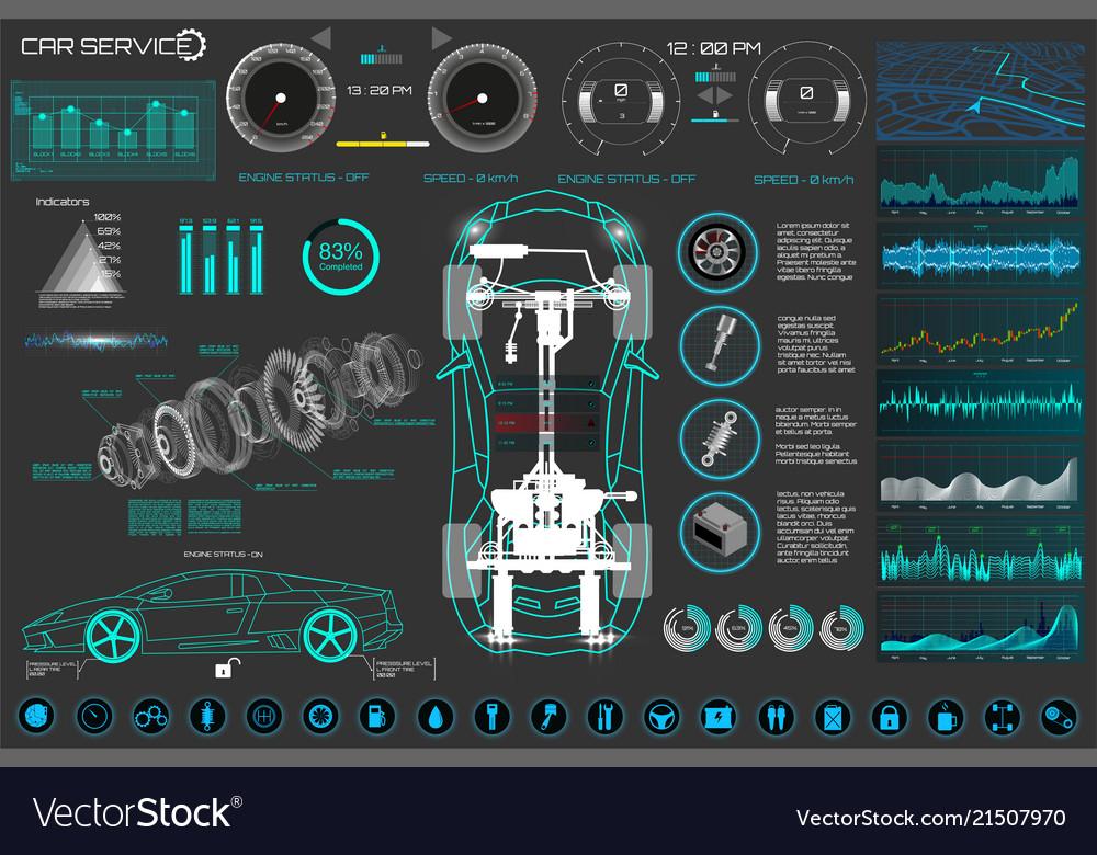 Car auto service modern design diagnostic auto
