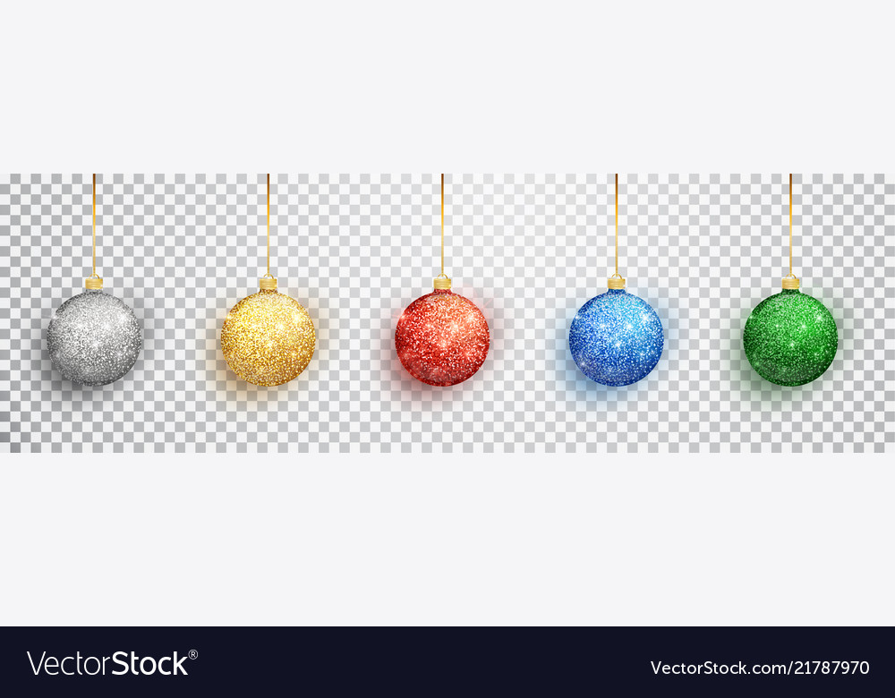 Colorful christmas balls set on white background