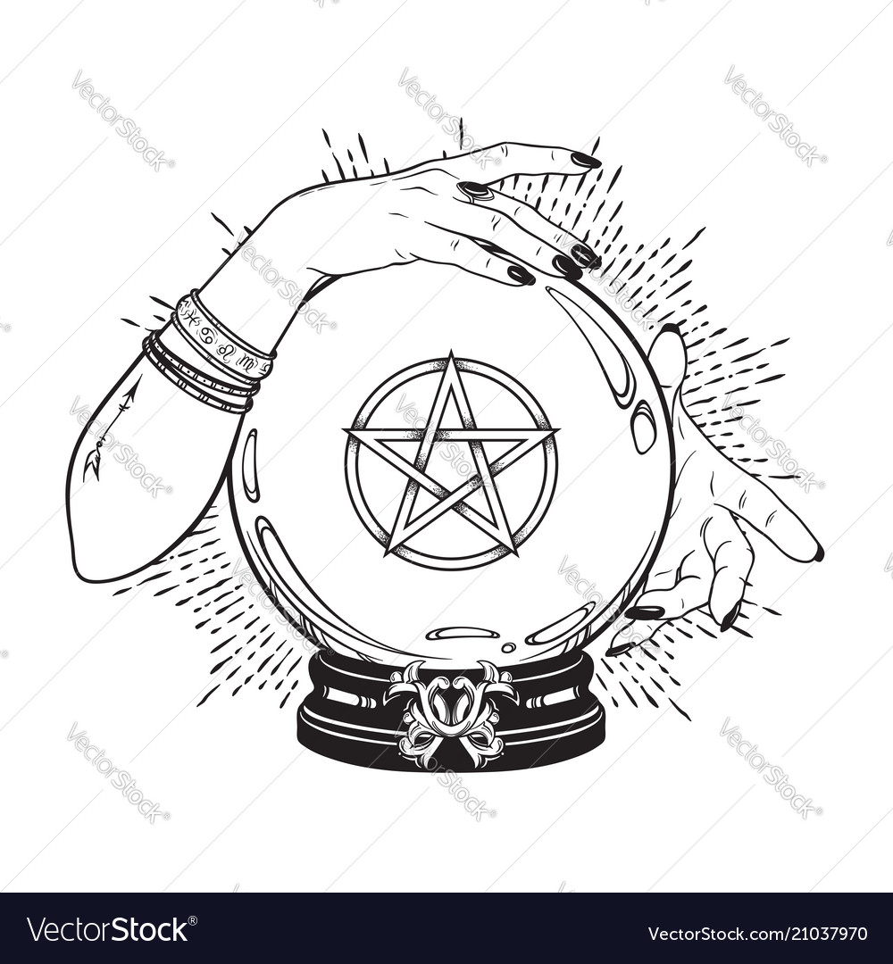 Hand drawn magic crystal ball with pentagram