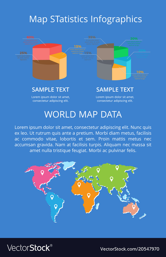 Map statistics infographics word data color banner