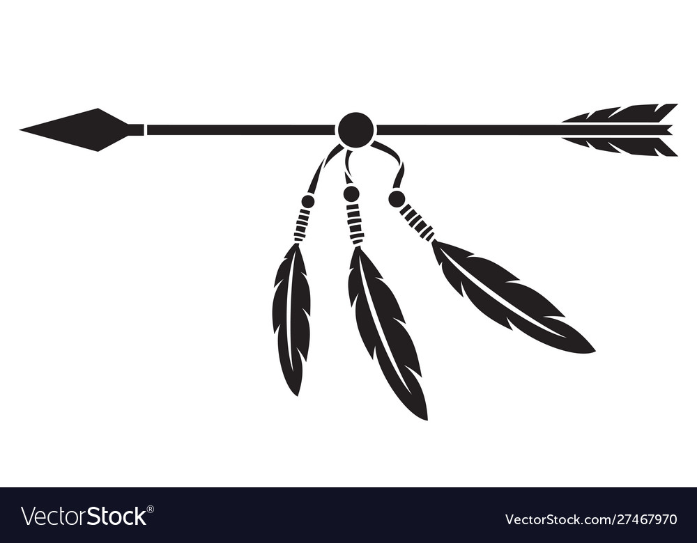 Native indian arrow and feathers