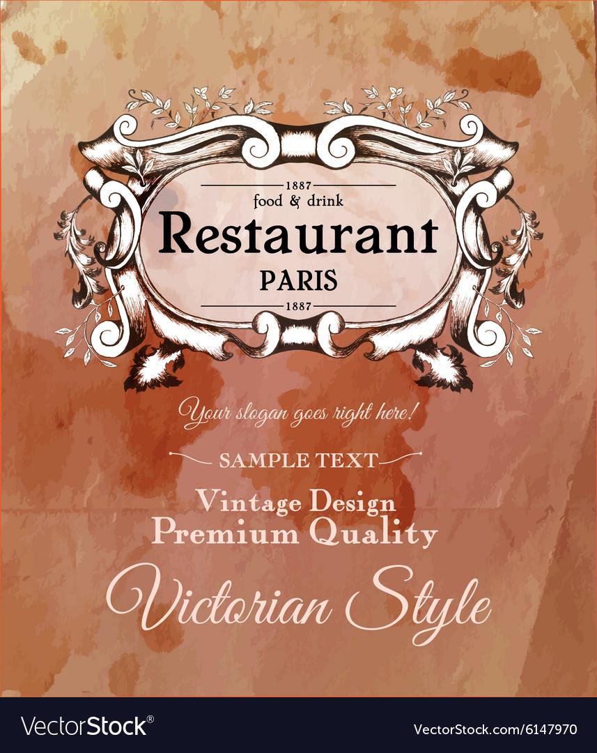 Old vintage victorian label for menu of
