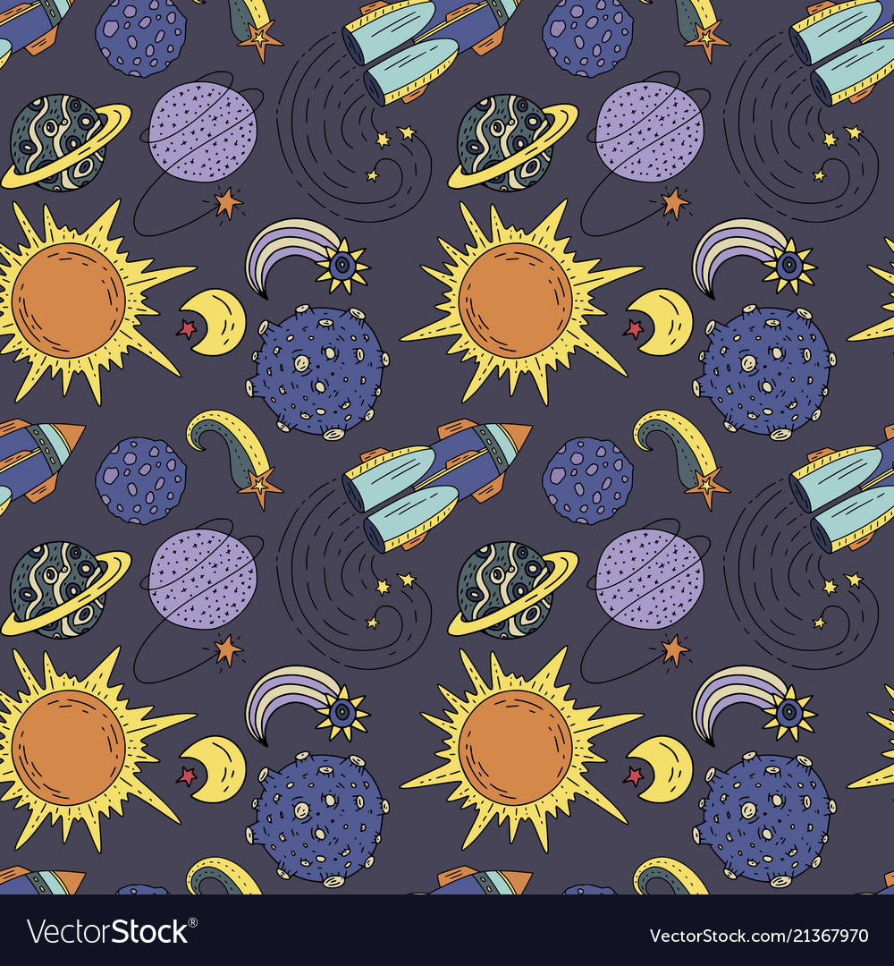 Seamless pattern with cosmos doodle