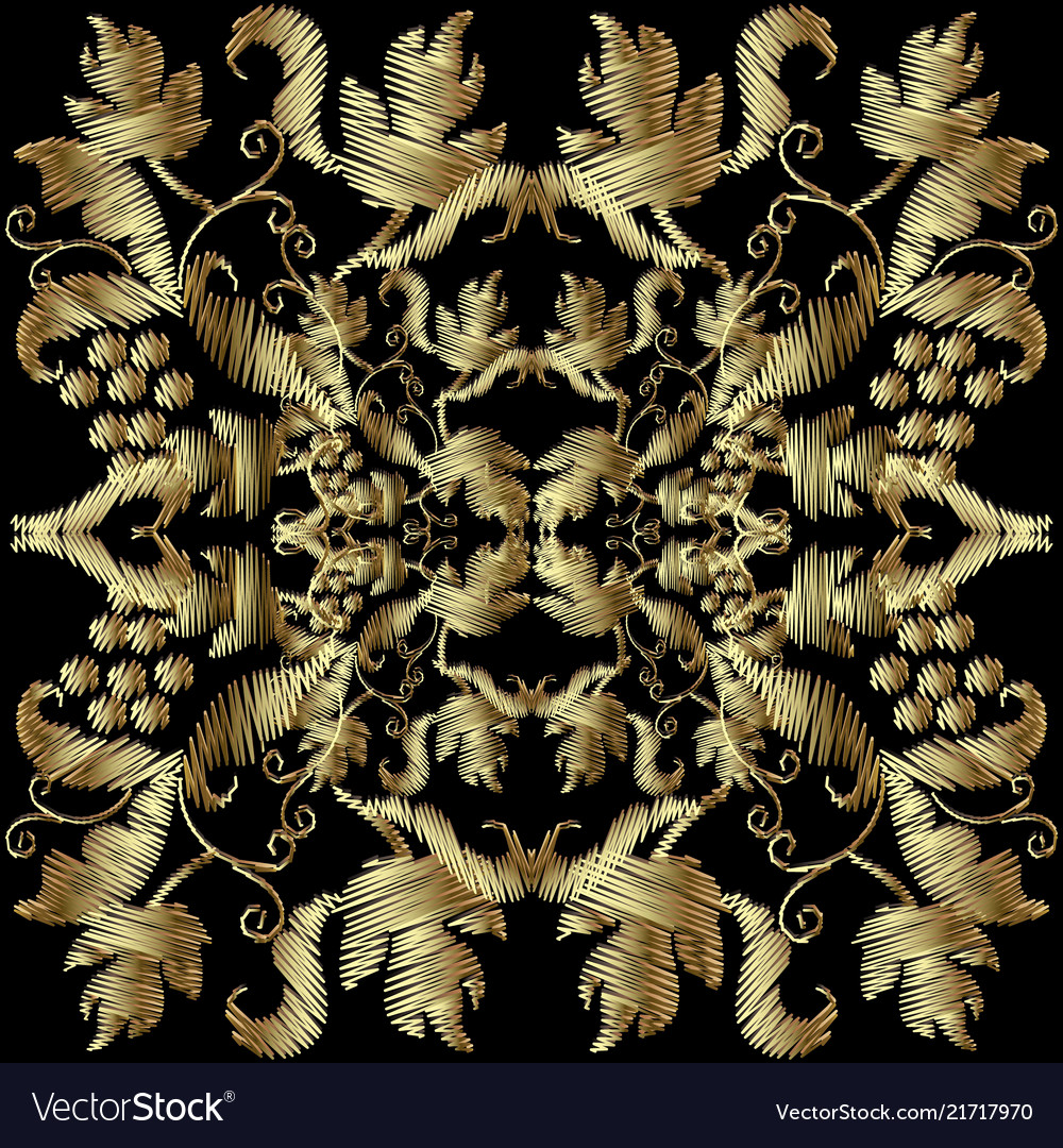 Textured embroidery gold 3d baroque pattern