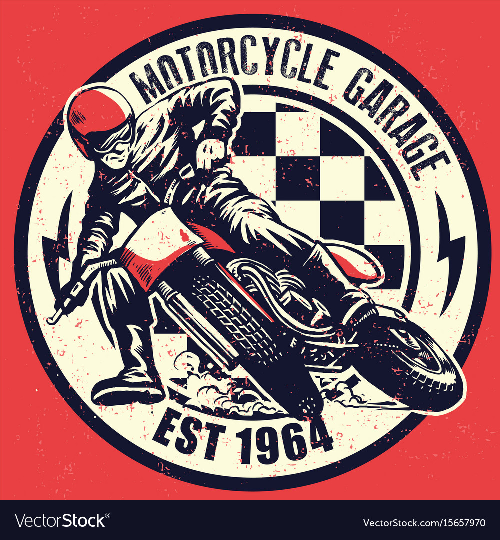 Vintage Motorcycle Garage Design With Dirty Vector Image