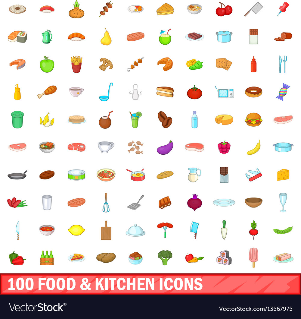 100 food and kitchen icons set cartoon style