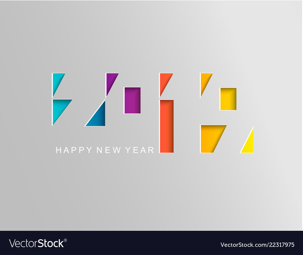 2019 happy new year card in paper style
