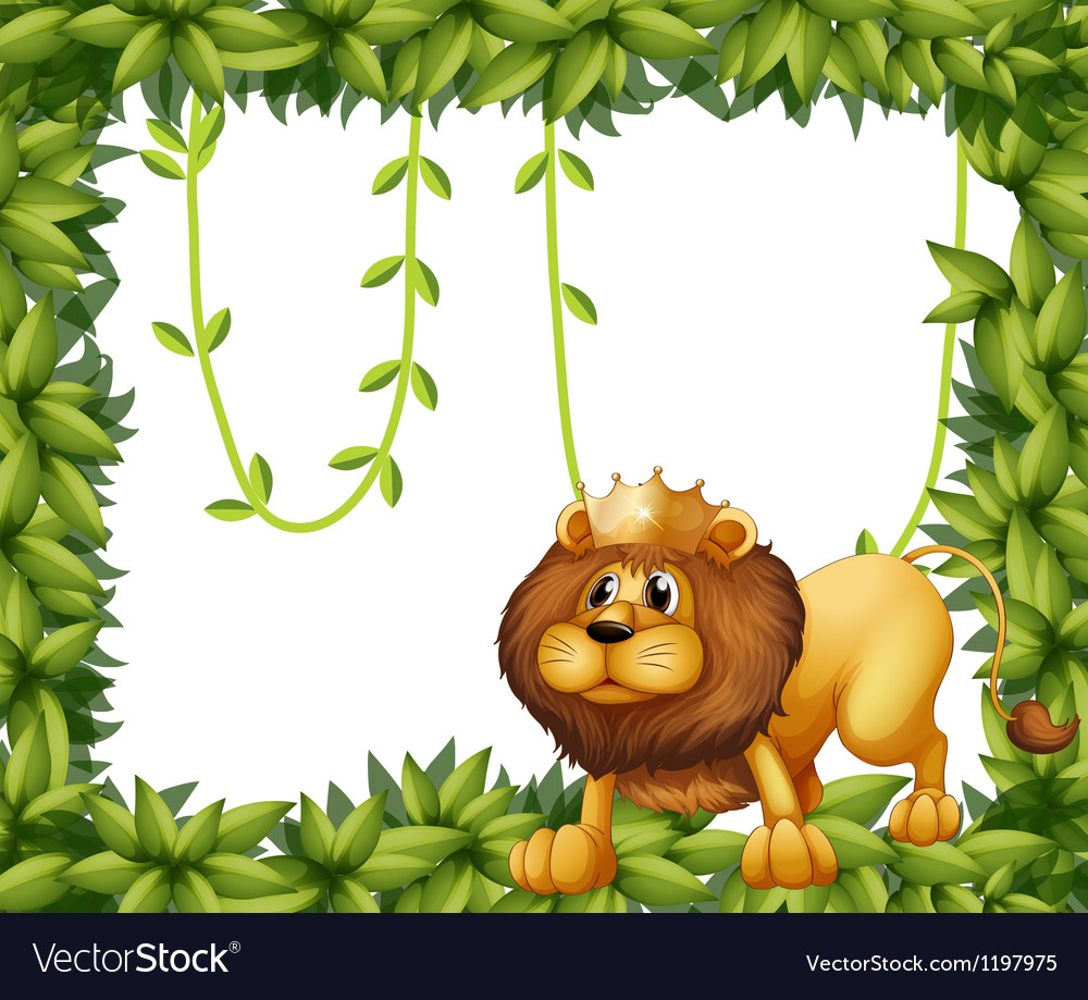 A lion king and the leafy frame Royalty Free Vector Image