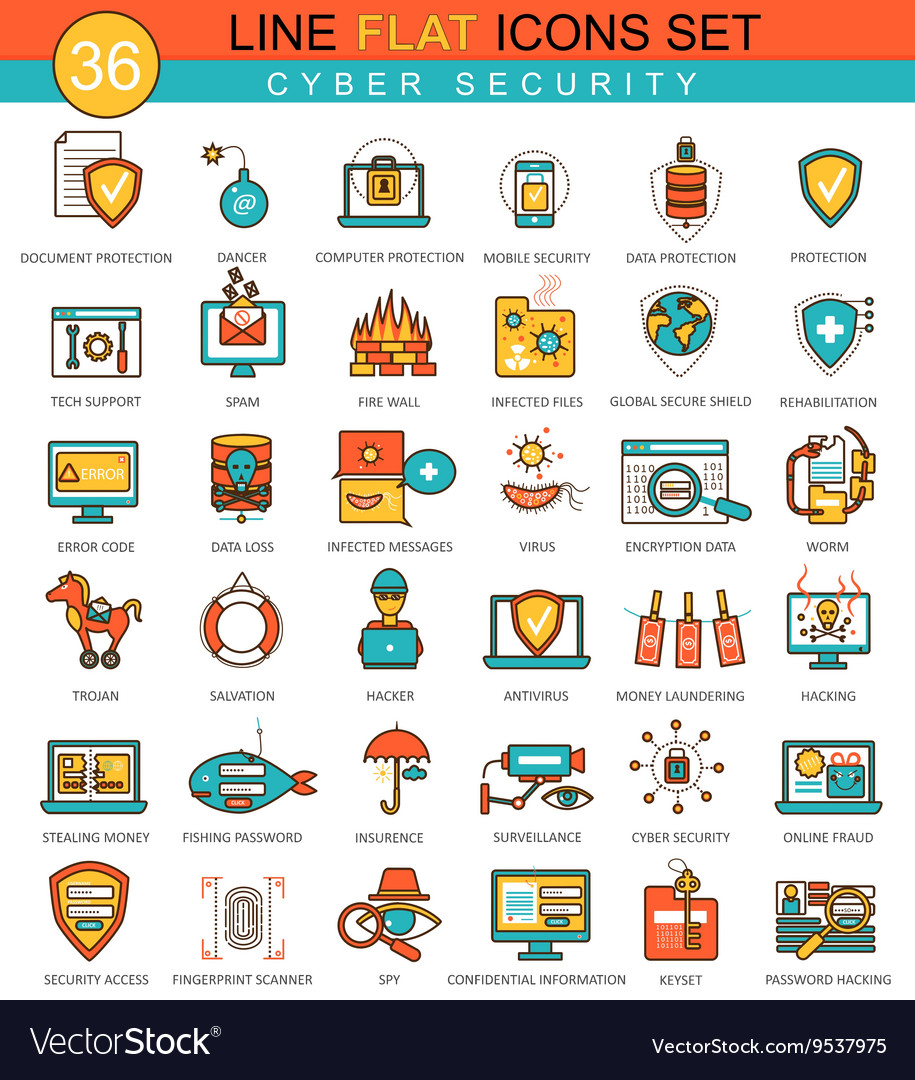 Cyber security flat line icon set Modern