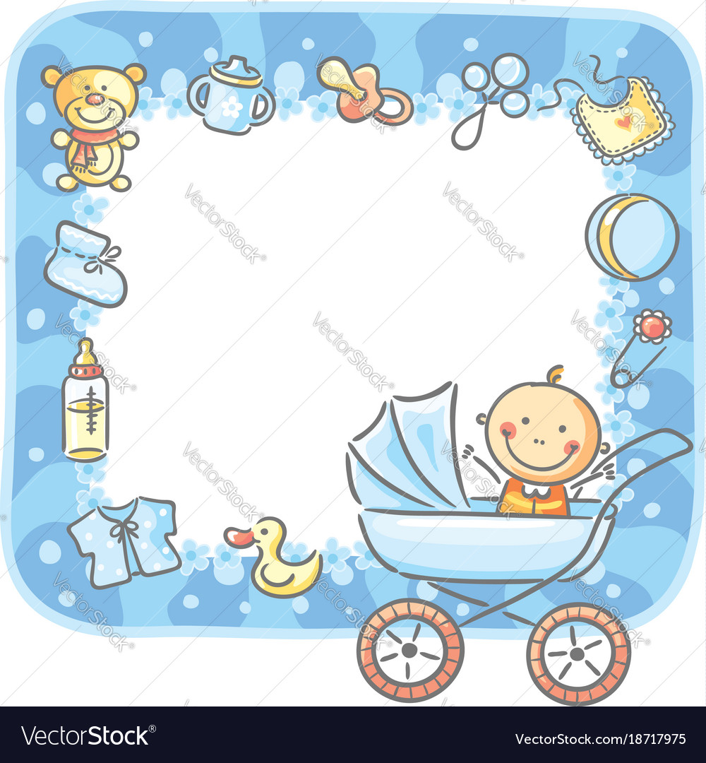 Frame With Baby Boy Things Vector Image