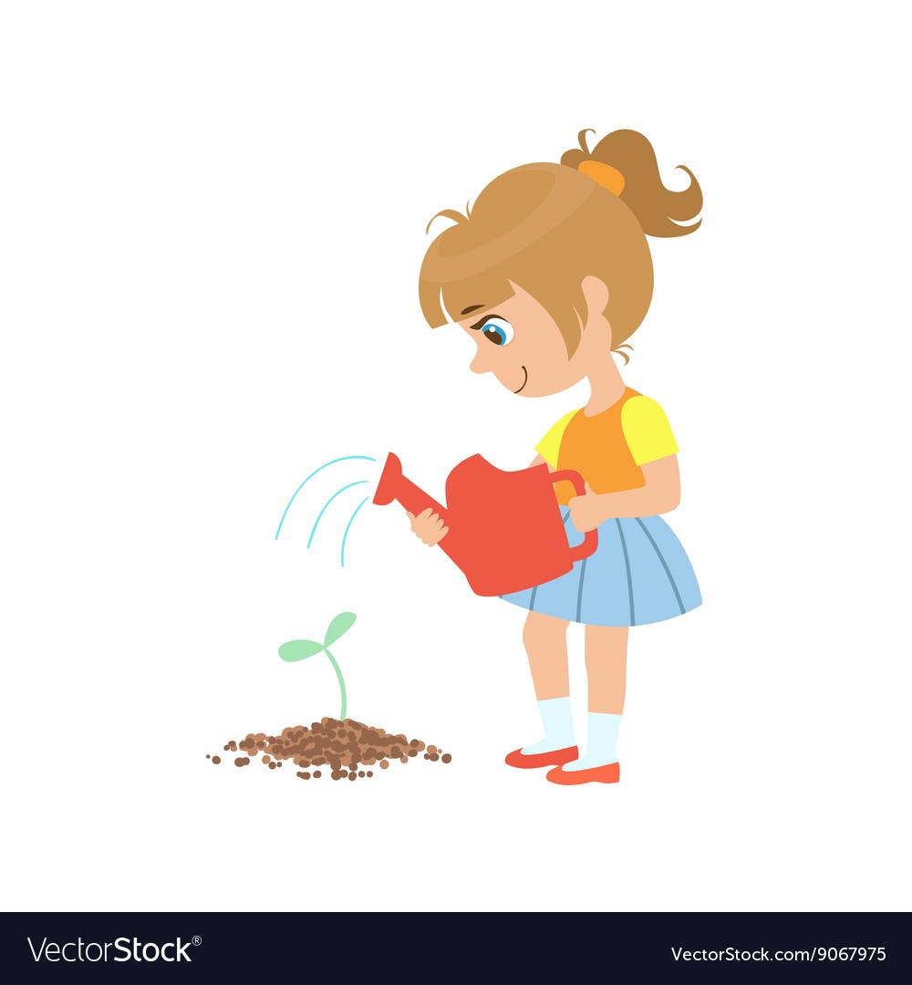Девочка с лейкой картинка