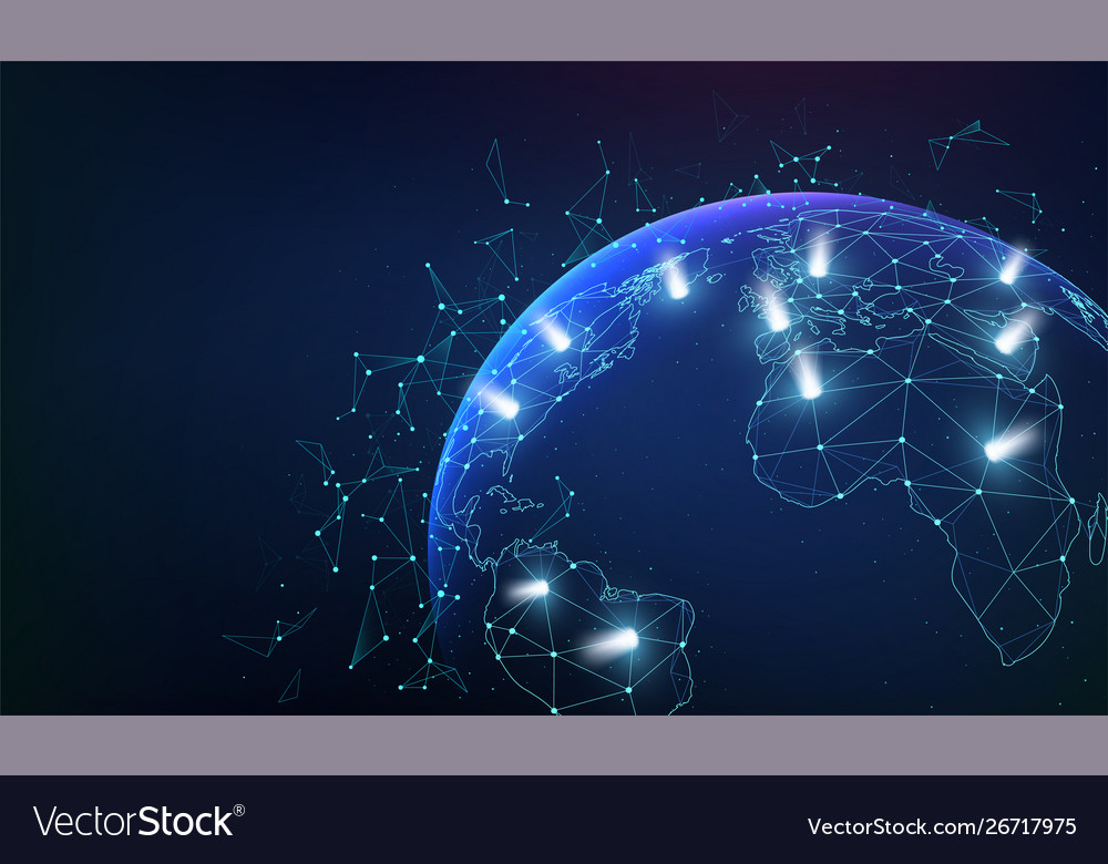 Global network business connections with dots and